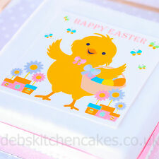"""Easter Cake Topper - Easter Chick Cake Topper - 7.5"""" Square Edible Icing / Wafer"""
