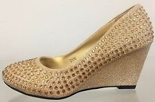 Lucita Round Toe Kitten Wedge Prom Wedding Rhinestone Glitter Slip On Shoe Gold