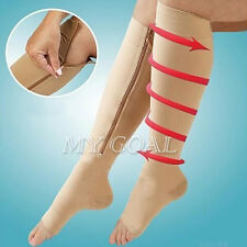 Women Zippered Compression Knee Socks Pantyhose Supports Toe Thigh Leg Stocking
