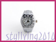 Round Roman Numeral Mens Women Automatic Stretchy Strap Finger Ring Watch Silver