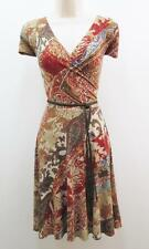 Ralph Lauren Brown Red Moroccan Paisley Belted Stretch Jersey V-Neck Dress NEW