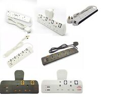 2/3/4 WAY EXTENSION LEAD GANG NEON ADAPT PORT USB PORT WITH SURGE PROTECTION NEW