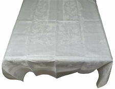 "Vintage Damask Linen Banquet Tablecloth & Napkins 64"" x 108"" White"