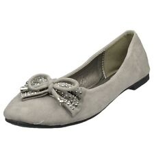 Womens Ballet Flats Studded Bow Tassel Accent Faux Suede Shoes Taupe