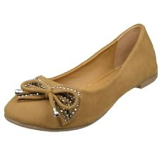 Womens Ballet Flats Studded Bow Tassel Accent Faux Suede Shoes Tan