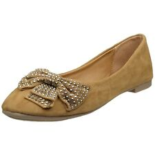 Womens Ballet Flats Studded Bow Accent Slip On Comfort Shoes Tan