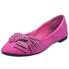 Womens Ballet Flats Studded Bow Accent Slip On Comfort Shoes Pink