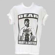 HAIRY MAN BEAR GAY clubbing party festival T-SHIRT WHITE S-XXXL