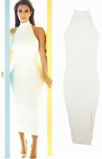 Womens Ladies Celebrity Kim Kardashian Sleeveless Polo Neck Bodycon Midi Dress