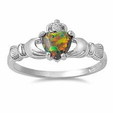 Fire Lab Opal Claddagh Ring CZ - 925 Sterling Silver - Irish Celtic Heart NEW