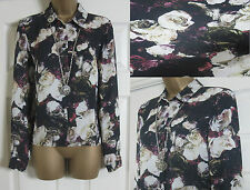 NEW M&S MARKS & SPENCER BLOUSE SHIRT TOP CHIFFON SHEER BLACK CREAM FLORAL 6-18