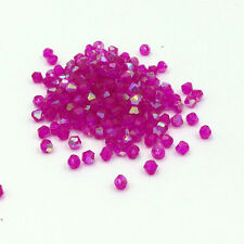 Fashion DIY jewelry 4mm100/1000pcs Glass Crystal 5301 Bicone Beads Rose red AB