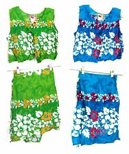 Sz L,XL- NWT Green/Blue Hawaiian by Basix Hibiscus Print Wrap Skirt & Top Set