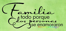 FAMILIA TODO PORQUE DOS PERSONAS SPANISH Vinyl Wall Decal Sticker Word Art QUOTE
