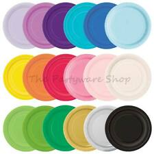 "16 ROUND PAPER PLATES 9"" Solid Colours for Birthday Party BBQs Events Catering"