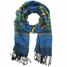 Bucasi Aztec Striped scarf in blue and orange