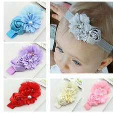 Elastic Baby Kid Girl Infant Hair Band Lace Flower Pearl Headwear Headband USTOP