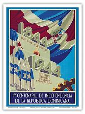 Dominican Republic Independence Centennial Vintage World Travel Art Poster Print