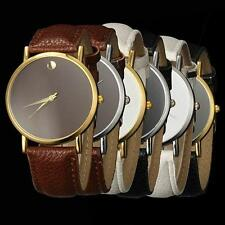 6 Colours Leather Crystal Mens Male Gents Unisex Vintage Classic Dress Watch xxx