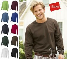 Hanes Men's Cotton Blank Tagless Long Sleeve T Shirt 5586 S-3XL Many Colors