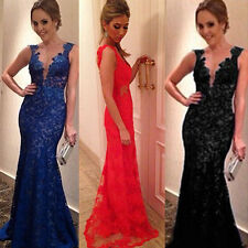 Womens Backless Sleeveless Lace Bodycon Party Cocktail Evening Long Maxi Dress