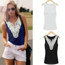 Women Vintage Summer Sleeveless Crochet Lace Shirt Tank Vest Top Blouse