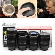 New Camera Lens Cup Coffee Tea Travel Mug Stainless Steel Thermos & Lens Lid