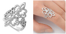Sterling Silver 925 DOUBLE FLEUR DE LIS HEART DESIGN SILVER RING 27MM SIZES 4-12