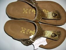 PAPILLIO LIC.BIRKENSTOCK - GIZEH - GOLD/BLACK LEATHER RRP $145 SAVE $50