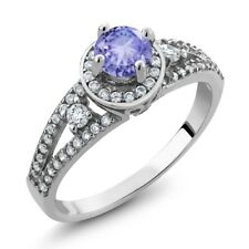 1.40 Ct Round Blue Tanzanite 925 Sterling Silver Ring