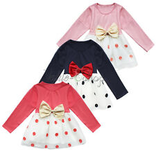 New baby Girls party dress Baby Pretty Bowknot Top Polka Dot Dress Tutu 0-24M