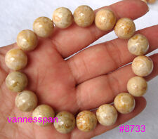 Natural Coral Fossil Round Beads Stretch Bracelet 12mm
