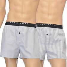 Hugo Boss Men's Loose Fit Woven Cotton Boxer Short 2-Pack Grey Button Fly Boxers