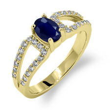 1.50 Ct Oval Blue Sapphire 14K Yellow Gold Ring