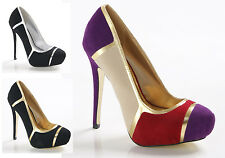 LADIES WOMENS PLATFORM HIGH HEEL COURT SHOES PARTY SANDALS PROM FORMAL SIZE