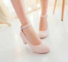 women Elegant Ankle strappy round toe mid high Heels block heel shoes Plus Size