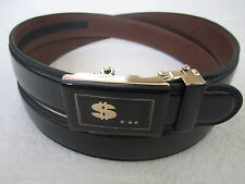 Unisex Men Women Black Leather Dress Belt Auto Lock Sliding Removable $$$ Buckle