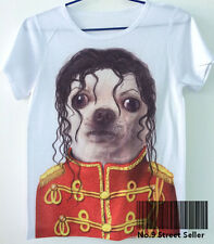 Retro Summer Fresh T-shirt Top Tee Forever Michael Jackson Heart Chihuahua Dog