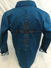 Mens Victorious Cross Stone Button Down Dress Shirt Teal Blue Roar W Style SH397