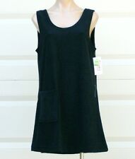 Black Cotton /Poly Sleeveless Terry Cloth Tank Beach Cover Up w/ Pocket - Size S