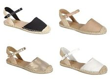 New D'Orsay Espadrille Round Closed Toe Ankle Strap Canvas Slides Flat Sandals