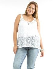 Ambiance Apparel White Lace Front Sleeveless Scoop Neck Sheer Top  Size 1X-3X