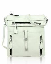 Quality Ladies Small Square messenger crossbody bag Multiple outer zip pockets