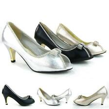 Women's Low Heels Peep Toe Satin Weeding Party Dress Glittery Bow Diamonds Shoes