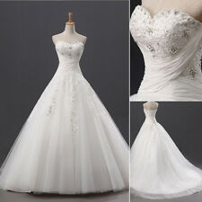 Sweetheart A-line Lace Wedding Ball Gown Bridal Wedding Dresses Size 4 6 8 10 12