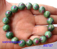 Natural Ruby in Zoisite Round Beads Stretch Bracelet 12mm