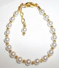 Newborn Baby Child Girl  Necklace: Snow White Pearl & 14K Gold Plated Customize