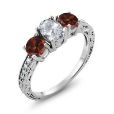 2.17 Ct Oval White Topaz Red Garnet 925 Sterling Silver Ring