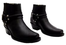 Grinders Harness Lo Black Unisex Leather Boot Cowboy Western Biker Ankle Boots