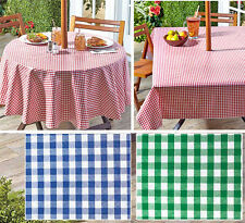 """Gingham Umbrella Hole Zipper Patio Tablecloth 70"""" Round or 60x90 Table Zip Cover"""